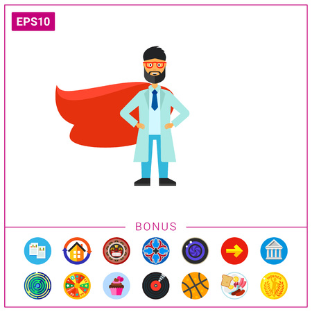 Portrait of smiling doctor in labcoat and red cape. Ambulance man, emergency aid, rescue service. Medical staff concept. Can be used for topics like medicine, ambulance, emergency medicine
