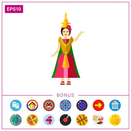 Icon of Thai dancer in colorful dress. Classical dance, dramatic art, grace. Thai culture concept. Can be used for topics like performance, entertainment or folk dance Stock Photo