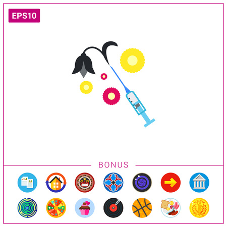Vector icon of syringe with black slack flower. Drug, death, addiction. Narcotic concept. Can be used for topics like substance abuse, health, unhealthy lifestyle