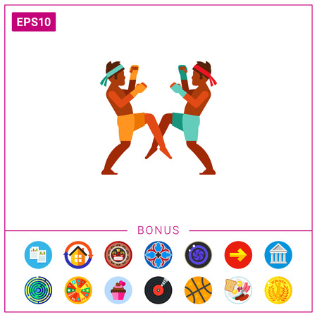 Icon of Thai men boxing. Male sport, fighting, combat sport. Thai culture concept. Can be used for topics like performance, sport or competition Stock Photo