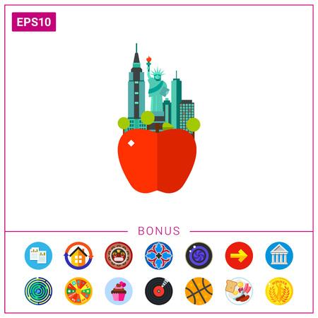 自由と高層ビルの像と大きなリンゴのアイコン。観光、建築、大都市。ニューヨークのコンセプトのニックネーム。観光、ランドマーク、愛国心の  イラスト・ベクター素材