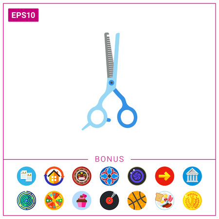 Vector Icon of thinning shears. Barbershop, haircut, hairdressing salon. Hairdresser tools concept. Can be used for topics like service industry, beauty service, hairdos
