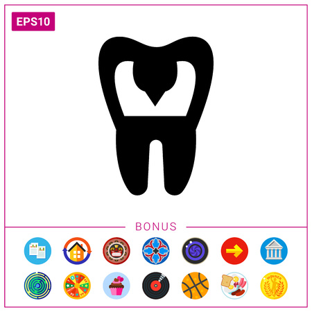 mouth pain: Tooth with Caries Icon Illustration