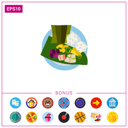 Vector icon of top view of laulau with rice on plate. Native Hawaiian dish, meat dish, Hawaiian cuisine. Hawaii concept. Can be used for topics like Hawaiian culture, travel, gastronomy