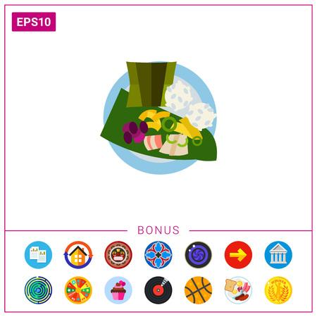 Vector icon of top view of laulau with rice on plate. Native Hawaiian dish, meat dish, Hawaiian cuisine. Hawaii concept. Can be used for topics like Hawaiian culture, travel, gastronomy