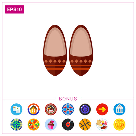 Vector icon of brown leather babouches. Traditional Moroccan shoes, national clothing, footwear. Morocco concept. Can be used for topics like fashion, travel, Eastern countries