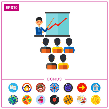 Businessman in glasses pointing at screen to the auditory. Business coaching, seminar, lecture, economics education. Training concept. Can be used for topics like business, education, training