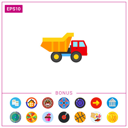 Illustration of toy truck. Childhood, vehicle, playing toys. Childhood concept. Can be used for topics like childhood, toys, transport