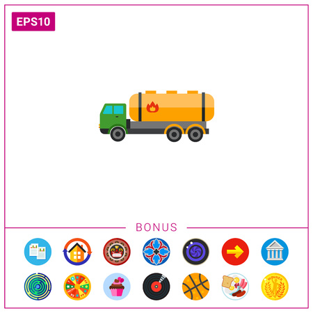Truck with Combustible Sign Icon Illustration