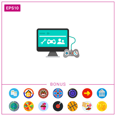Icon of joy stick connected television. Retro video game, gamepad, entertainment, hobby. Gaming concept. Can be used for topics like gaming, entertainment or video game Illustration