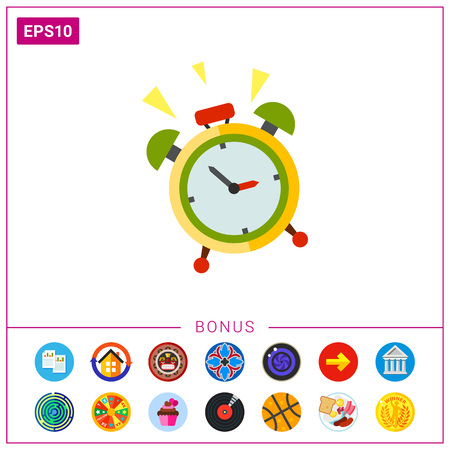 Illustration of alarm clock ringing. Wake-up time, morning, bell. Wake-up time concept. Can be used for topics like time, wake-up time, clock, morning