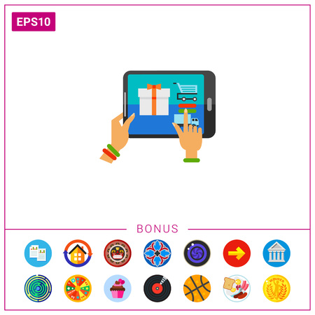 Woman Buying Gift in E-shop Icon Illustration