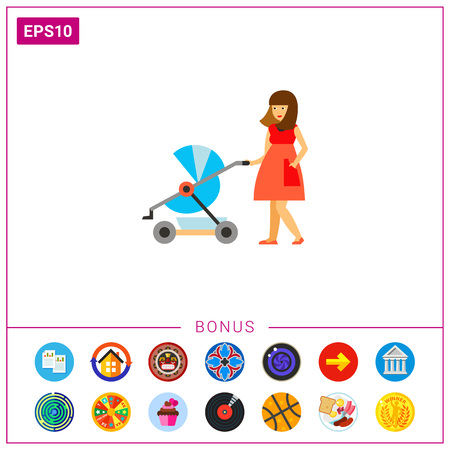 Woman with a stroller icon