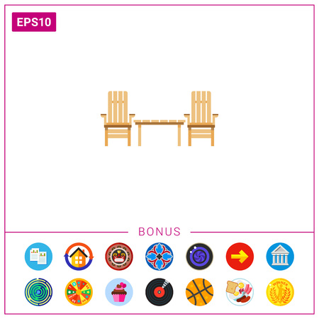 patio set: Wooden Garden Chairs And Table Icon