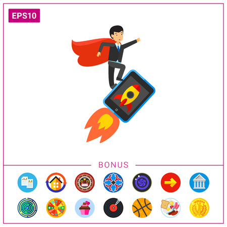 Successful businessman with red cape flying on touchpad with rocket on screen. Success, project startup, inspiration. Startup concept. Can be used for topics like business, innovation, marketing