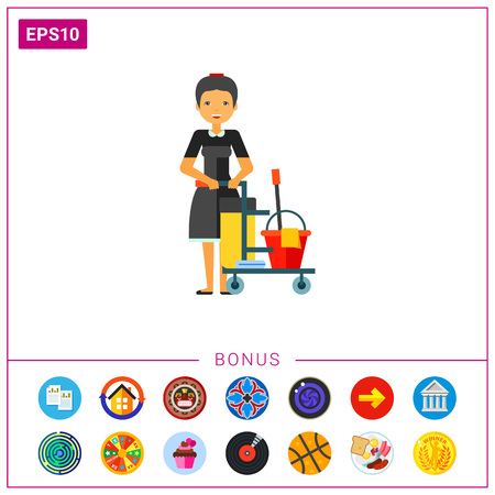 Cleaning service worker vector icon Illustration