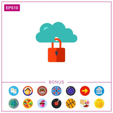 Icon of closed padlock on blue cloud. Security, easy customization, cloud storage. Security concept. Can be used for topics like security, file storage, data or privacy