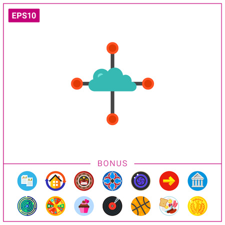 Cloud with four paths or sources. Cloud application, cloud networking, shared access. Cloud network concept. Can be used for topics like distance work, freelance, internet database development Illustration