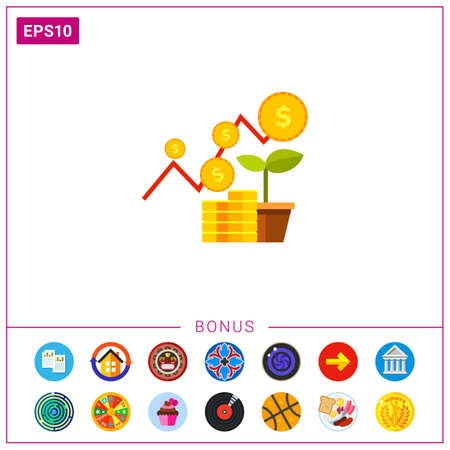 Growing graph, stack of coins and sprout. Strategy, success, growth. Financial business plan concept. Can be used for topics like finance, business, banking.