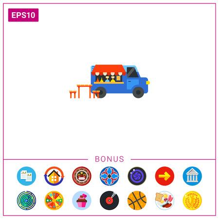 Illustration von Lebensmittel-LKW, Tisch und Bänken. Straßencafé, Fahrzeug, Hamburger, Snack. Cafe-Konzept. Kann für Themen wie Café, Snack, Transport verwendet werden