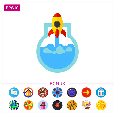 Rocket flying taking off chemical flask with liquid. Chemical development, medical development, scientific discovery. Startup concept. Can be used for topics like business, science, medicine, chemistry