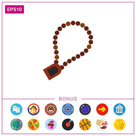 Icono de rosario para la oración. Pulsera, accesorio, perlas. Concepto de la cultura del Islam. Se puede usar para temas como religión, iglesia o fe Foto de archivo - 76869258