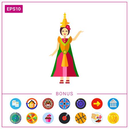 Thai dancer in colorful dress icon Illustration