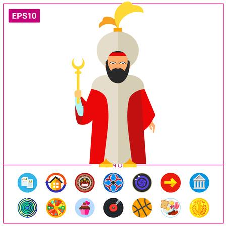 Turkish sultan holding staff icon
