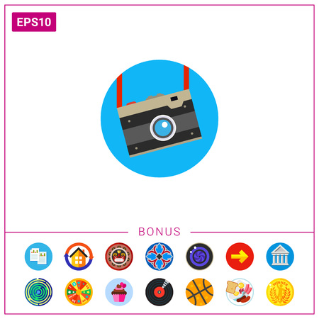 old photograph: Vintage Camera Vector Icon Illustration