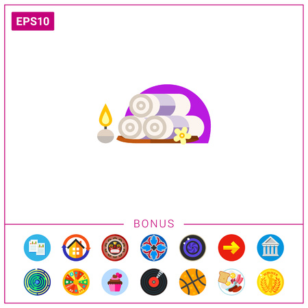 textiles: Three folded spa towels with flower and candle. Relaxation, beauty treatment, message. Spa concept. Can be used for topics like leisure, spa treatment, alternative therapy