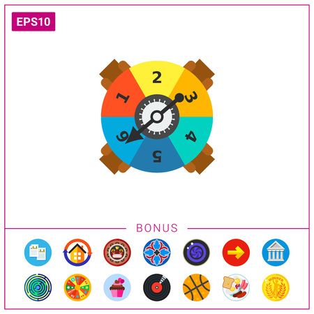 Icon of multicolored game spinner with numbers and arrow. Arrow pointing at number 6. Risk, change, board game. Gaming concept. Can be used for topics like gaming, entertainment or leisure
