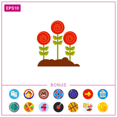 Roses growing in garden icon