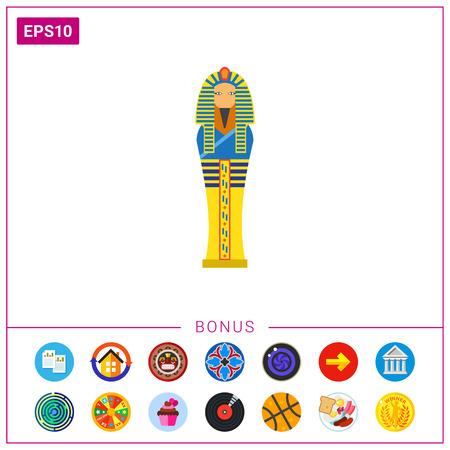 Egyptian pharaoh sarcophagus icon Stock Vector - 77096859
