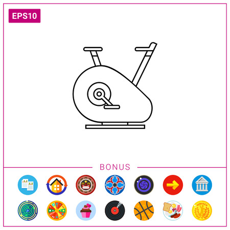 gym equipment: Exercise Bike Icon Illustration