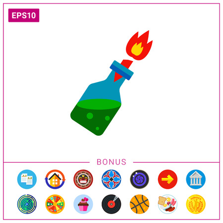 terrorist attack: Fire Cocktail with Burning Wick Icon