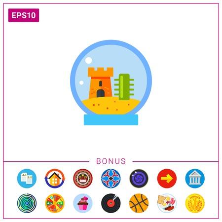 fishtank: Fishbowl with castle icon Illustration