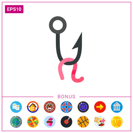 Fishing lure on hook vector icon