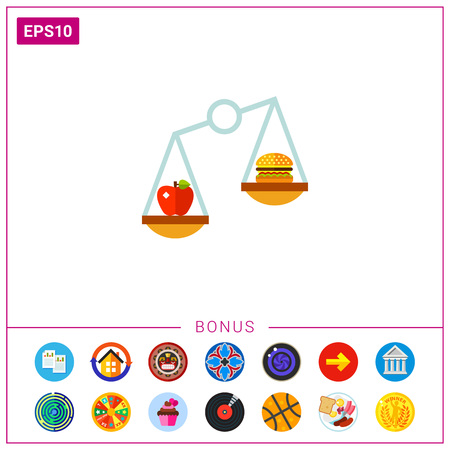 Food on Scales as Nutrition Concept Icon