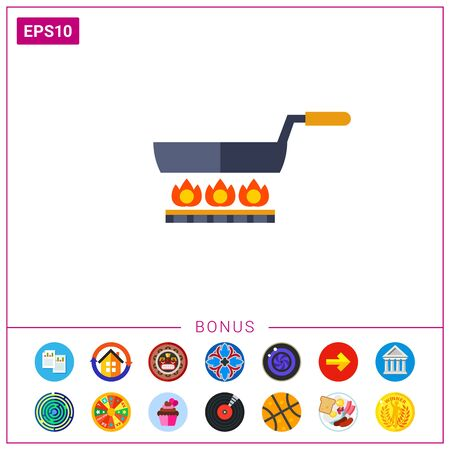 Frying pan on gas cooker Illustration