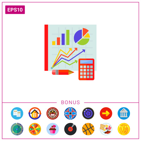 Graphs on Board as Statistics Concept Icon Ilustrace