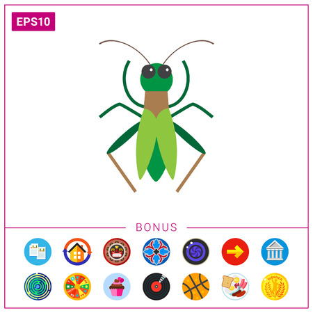 Green grasshopper icon Illustration