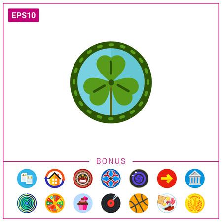 lucky clover: Green shamrock leaf  icon Illustration