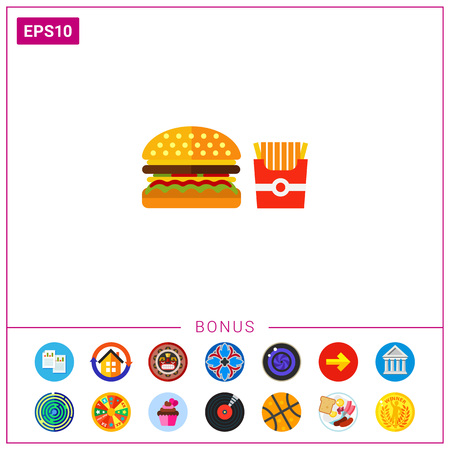 Hamburger with pack of French fries Illustration