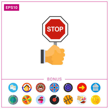 hand holding sign: Hand holding stop sign