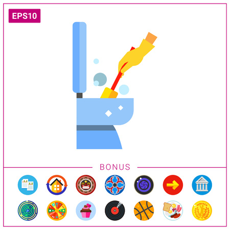 scrubbing: Hand in Glove Cleaning Toilet Icon Illustration