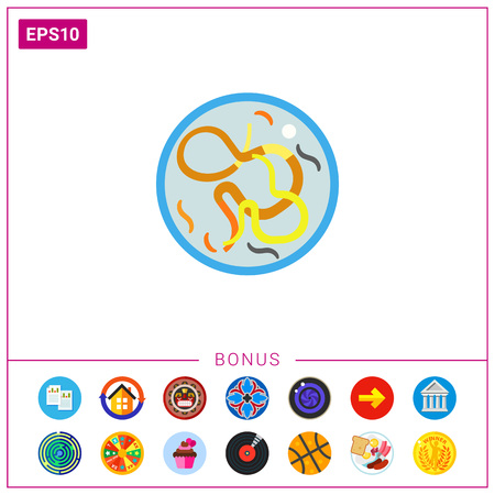 Helminthes in petri dish Vector Illustration