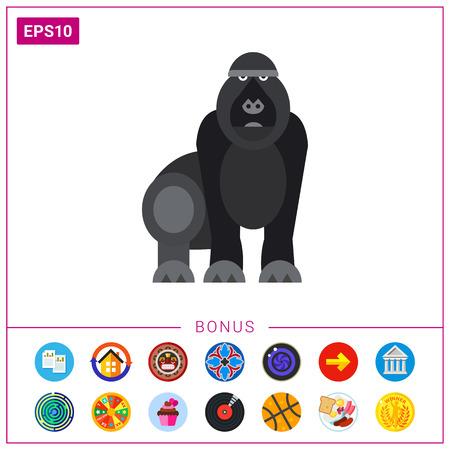 primate biology: Isolated Gorilla Icon Illustration