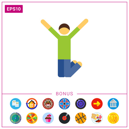 Multicolored vector icon of excited man jumping with his hands up Illustration