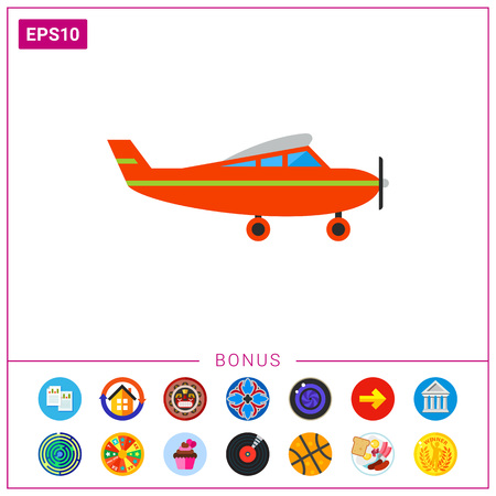 Kids plane, side view. Model, plastic, passenger. Toy plane concept. Can be used for topics like toys, childhood, games.