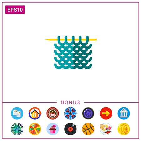 jersey: Multicolored vector icon of blue knitted yarn on needle Stock Photo